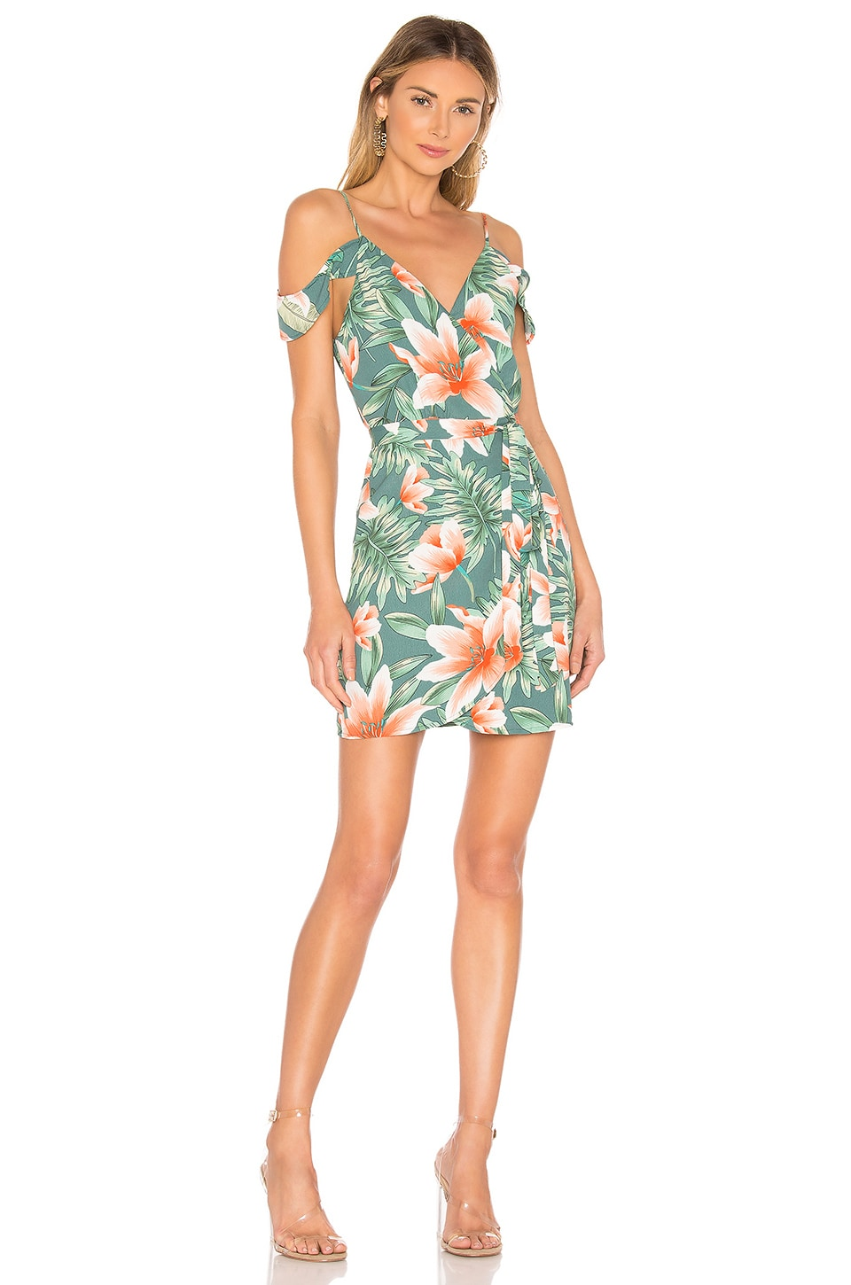 superdown Ari Wrap Dress in Green Floral