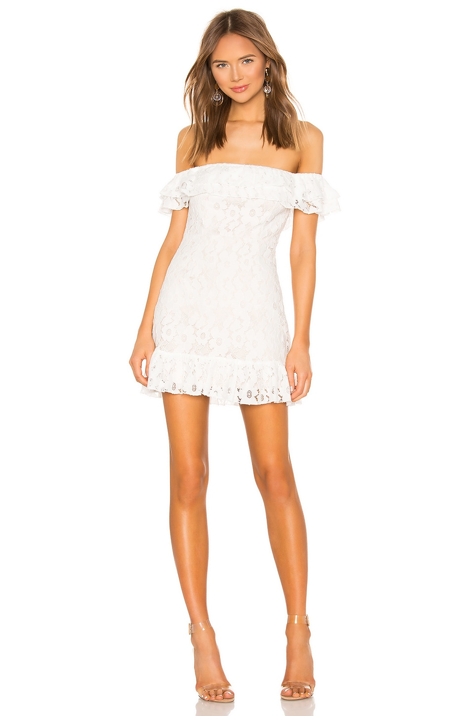 superdown Samantha Lace Dress in White