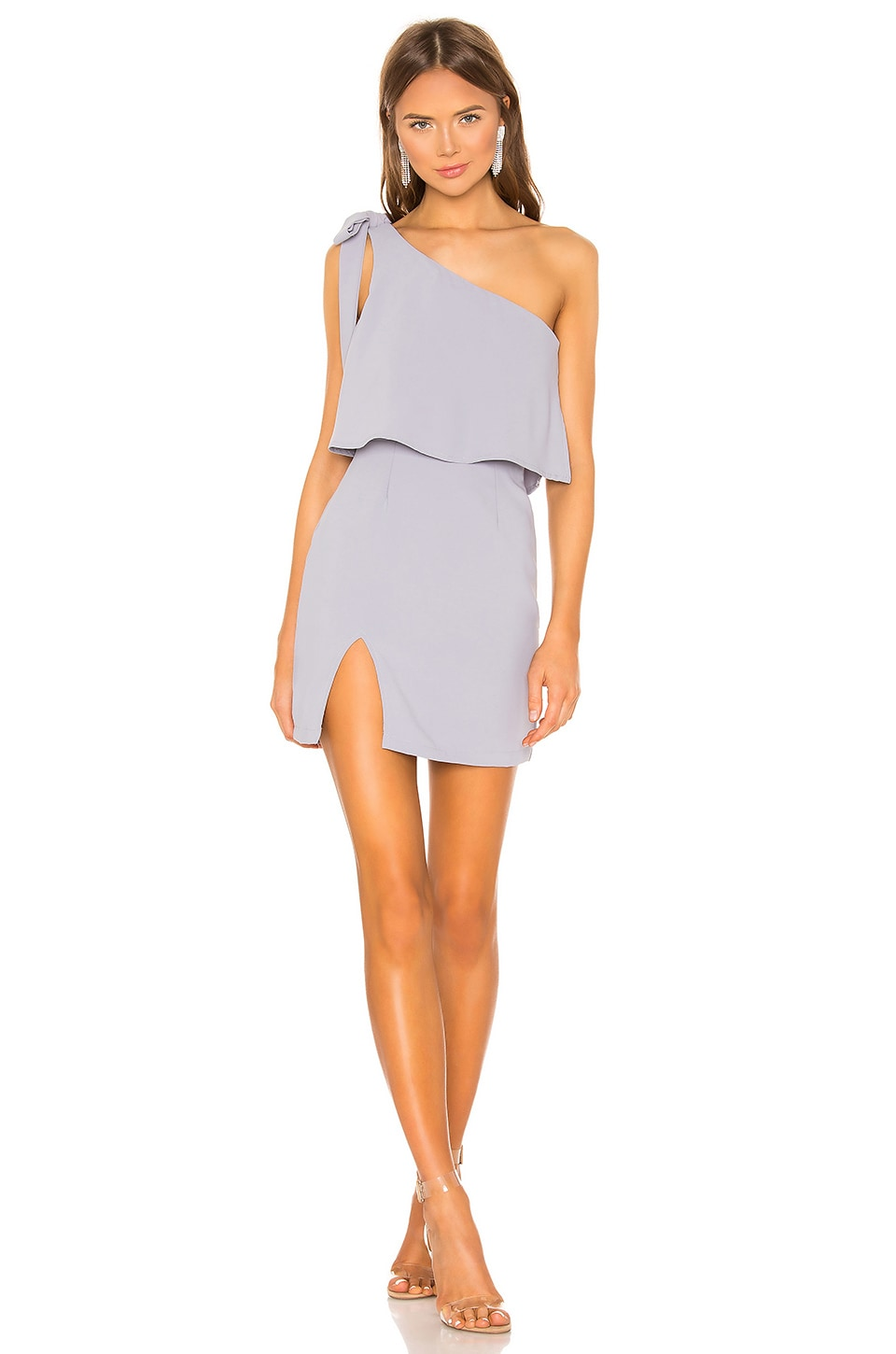 superdown Jenna One Shoulder Dress in Grey