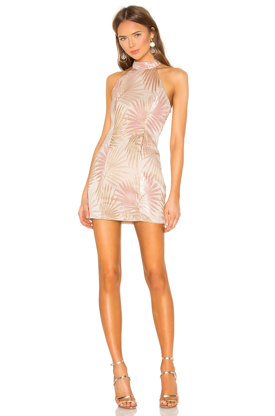 superdown Rene Mock Neck Dress in Pink Multi