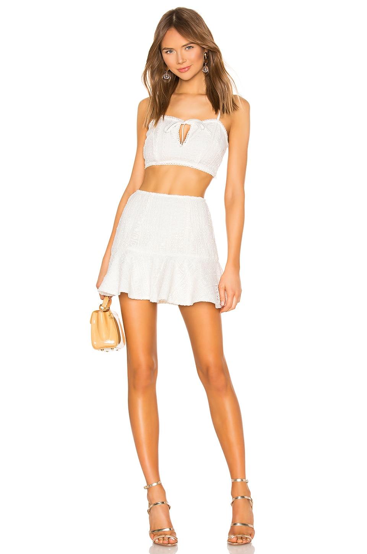 superdown Dakota Crochet Skirt Set in White
