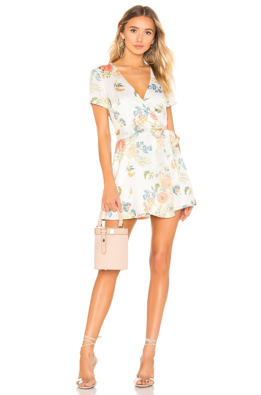 superdown Maye Wrap Mini Dress in White Floral