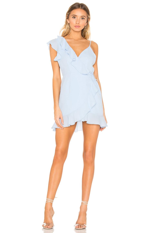 4d478a1ae0 superdown Areanna Wrap Dress in Baby Blue