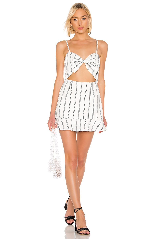 superdown Maya Cut Out Dress in White Stripe
