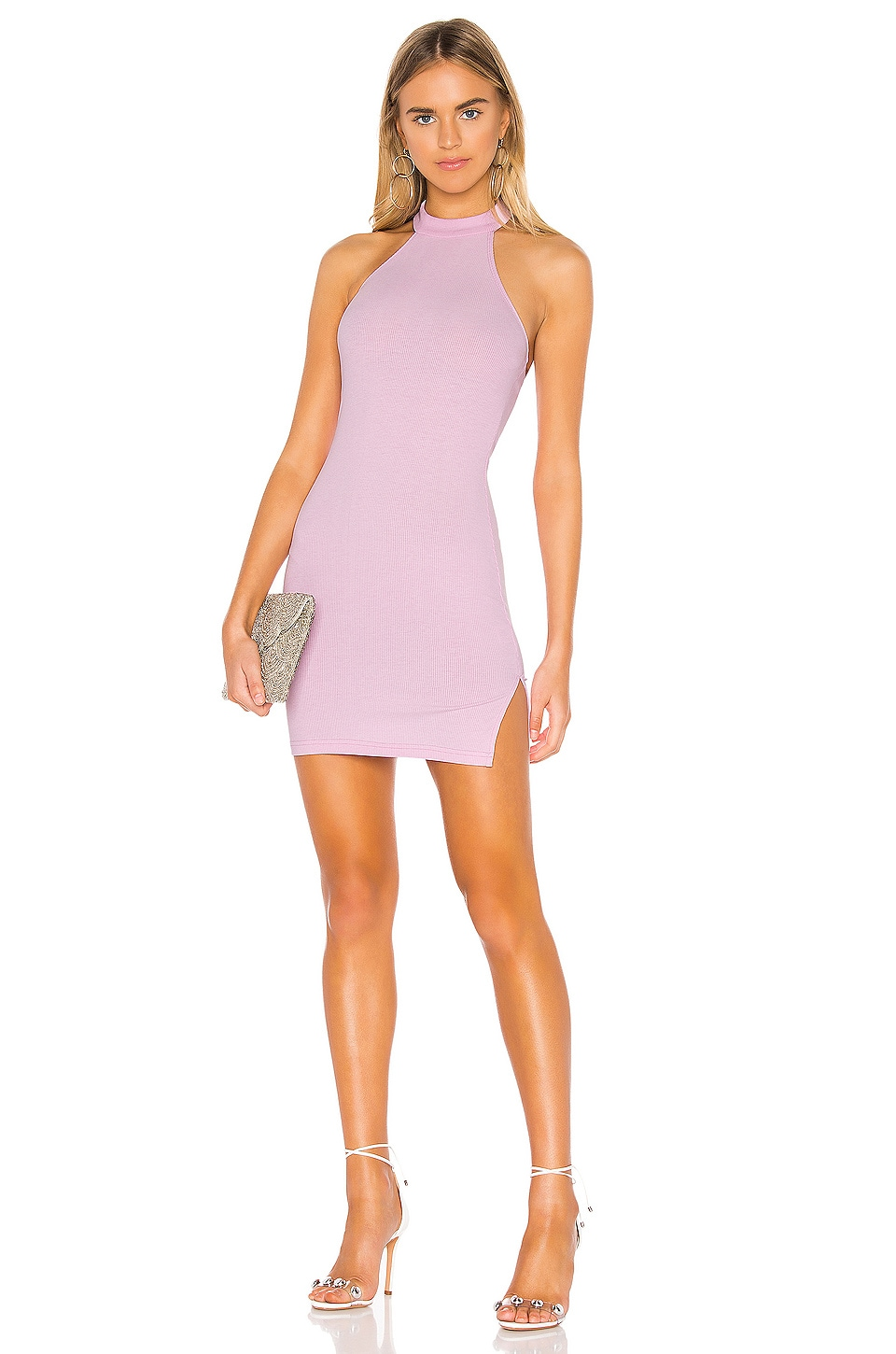 superdown Oriana Ribbed Halter Dress in Pink