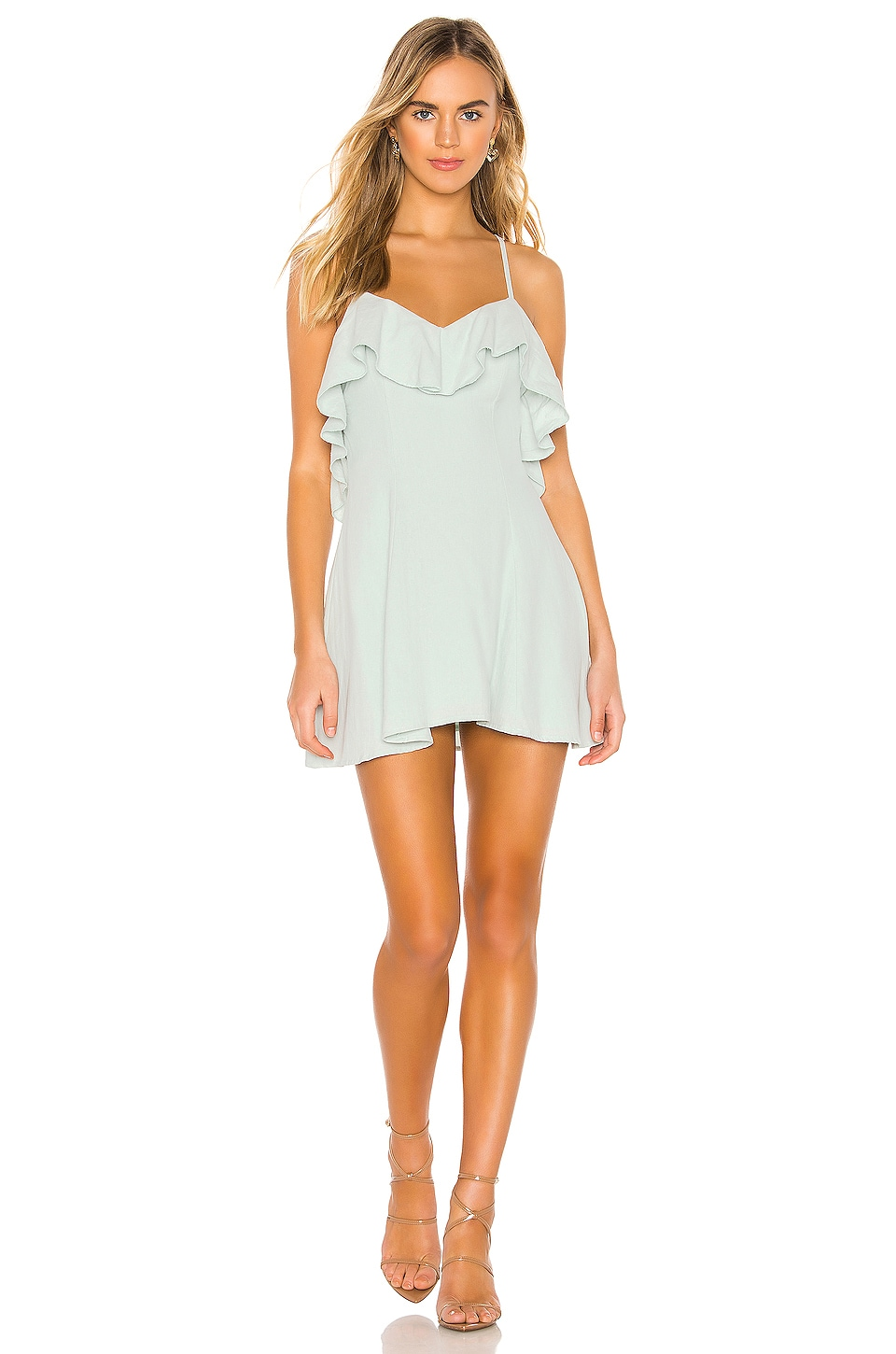 superdown Willa Lace Up Dress in Sage