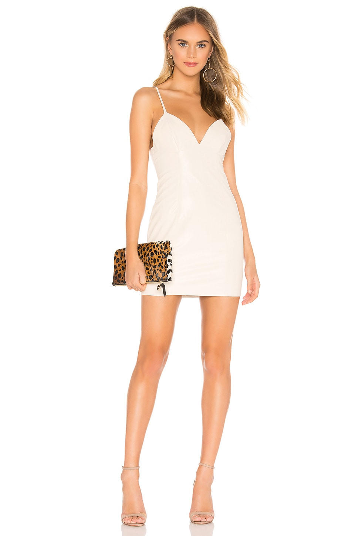 superdown Becca Faux Leather Dress in Cream