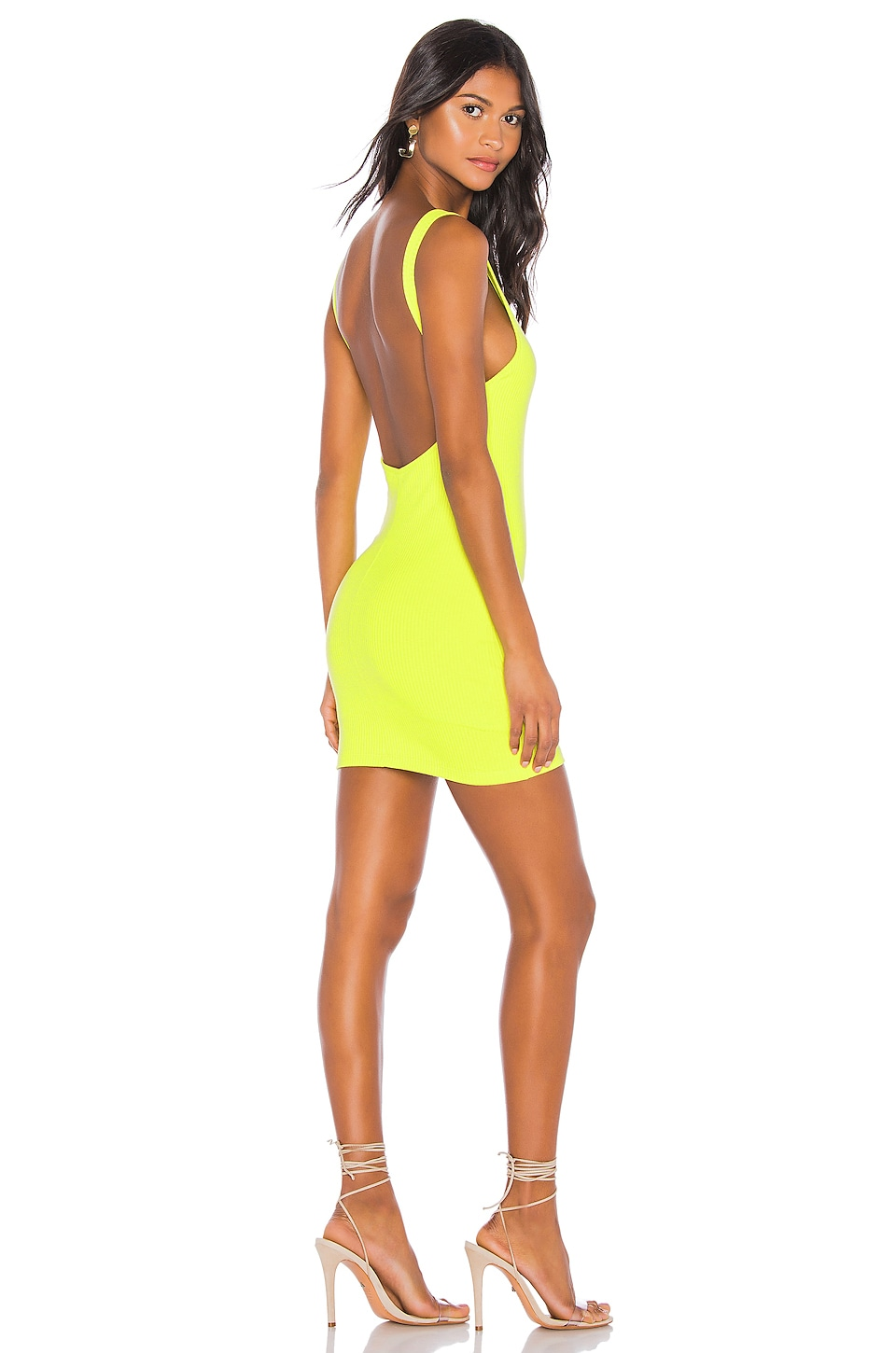 superdown Kourtney Backless Mini Dress in Chartreuse