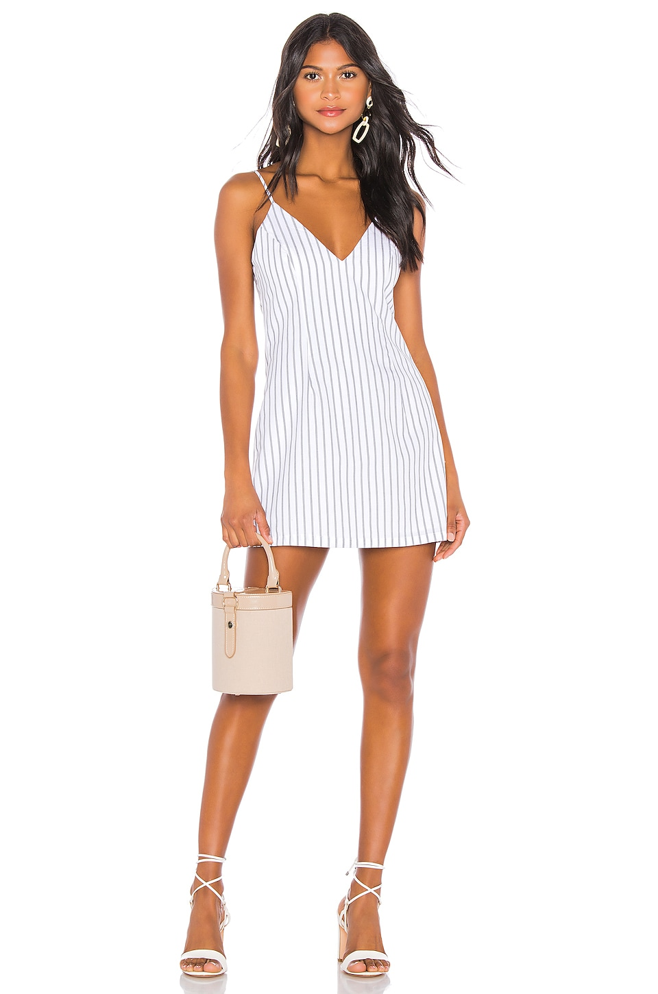 superdown Kacie Mini Dress in White & Grey