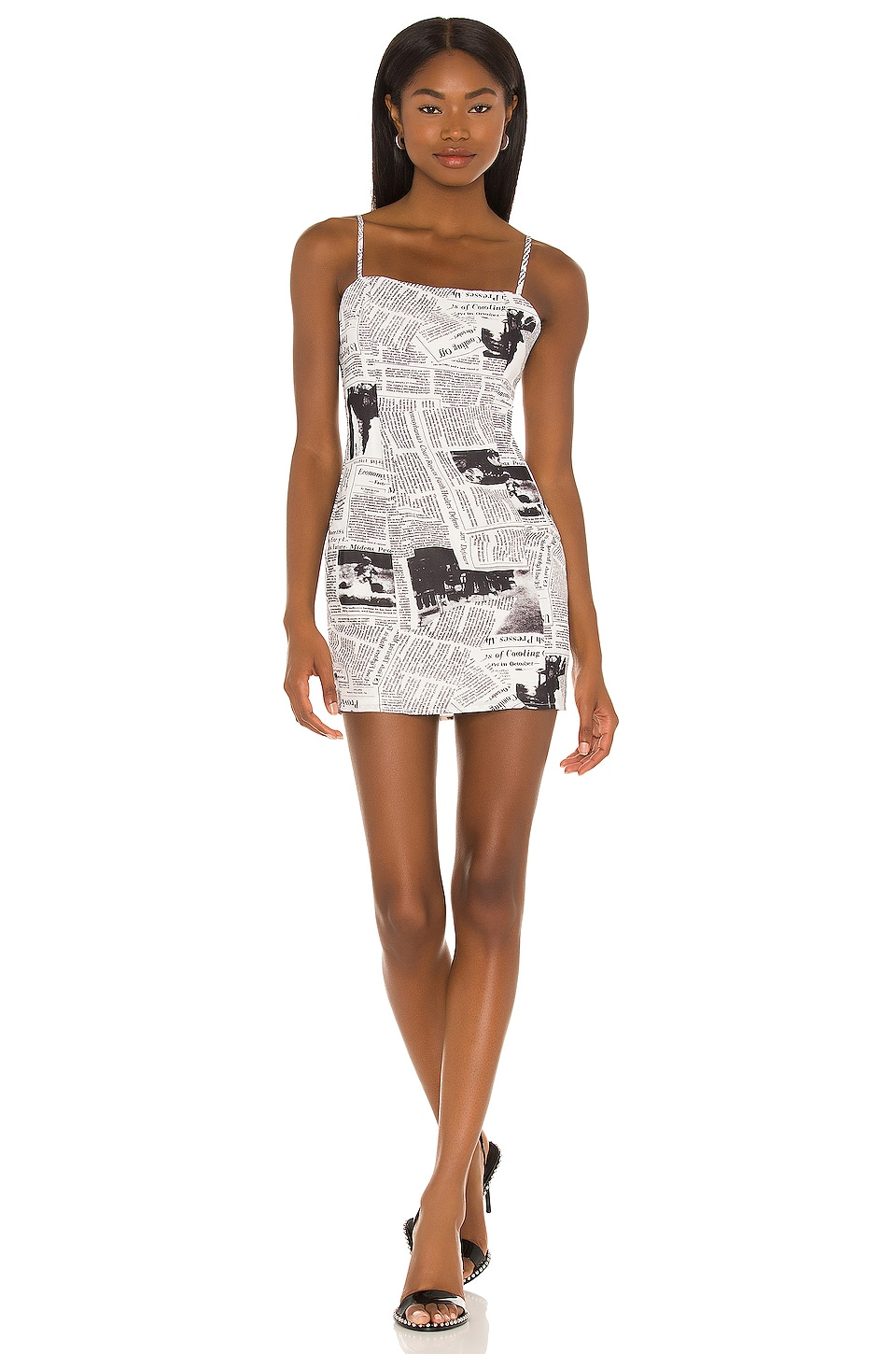 superdown Letizia Printed Mini Dress in Black & White