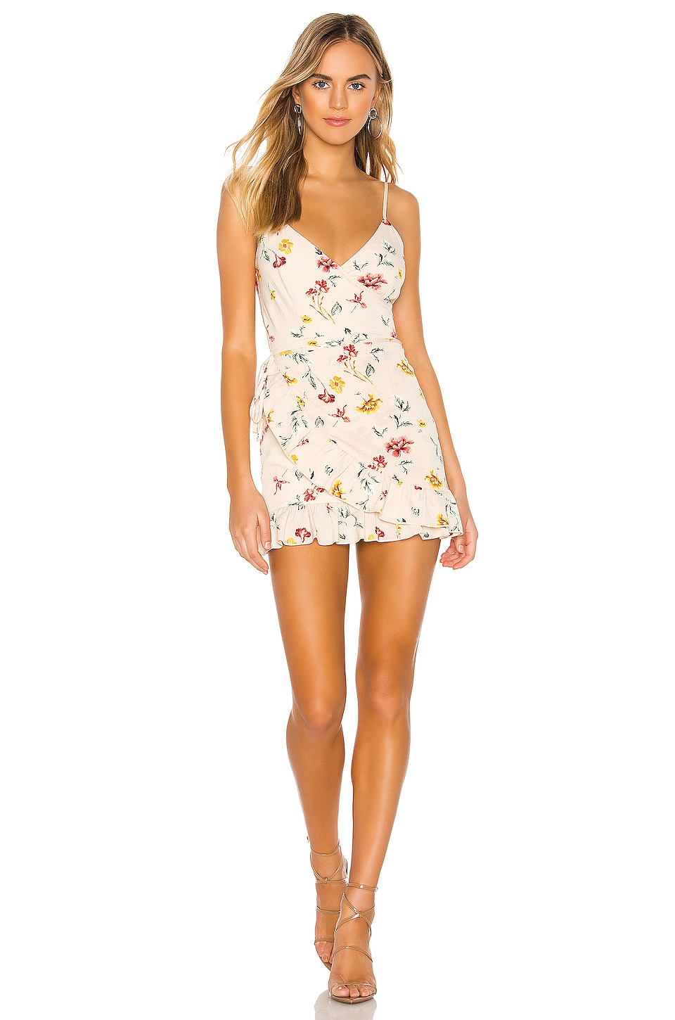 superdown Gianni Ruffle Mini Dress in Multi Floral