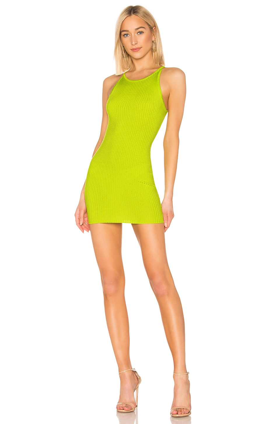 superdown Alexia Ribbed Mini Dress in Lime Green
