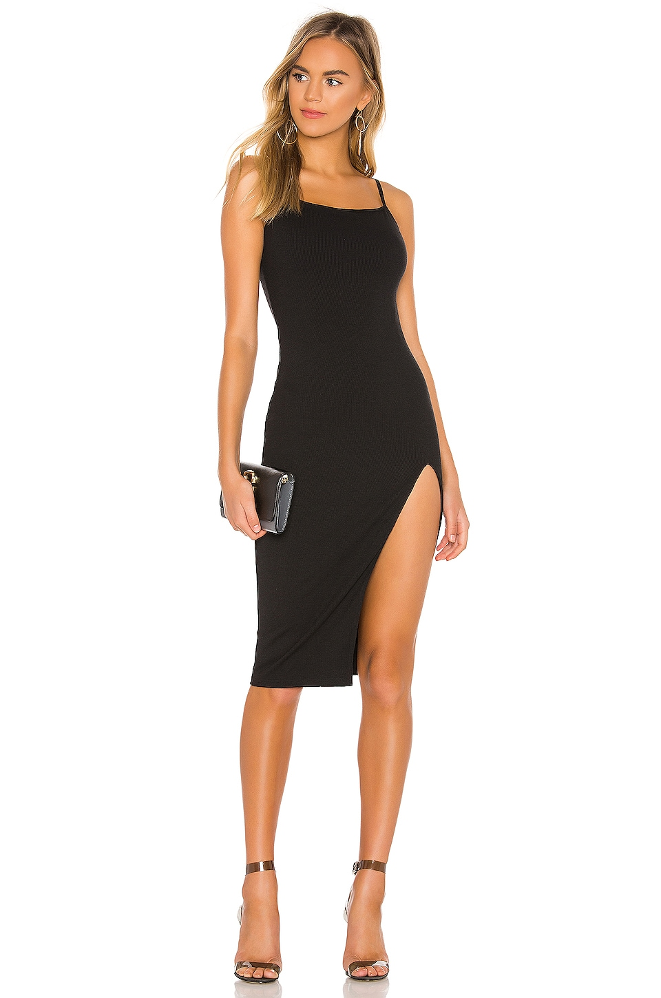 superdown Candace Slit Midi Dress in Black