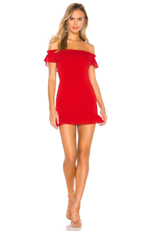 superdown Jennifer Ruffle Mini Dress in Red