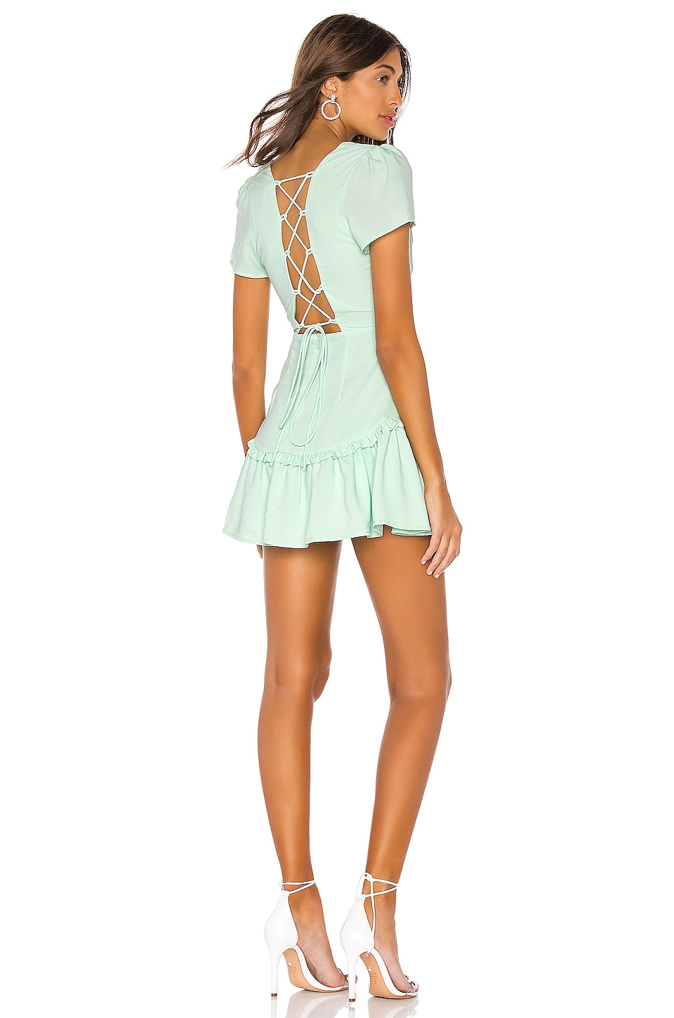 superdown Valery Lace Up Dress in Mint
