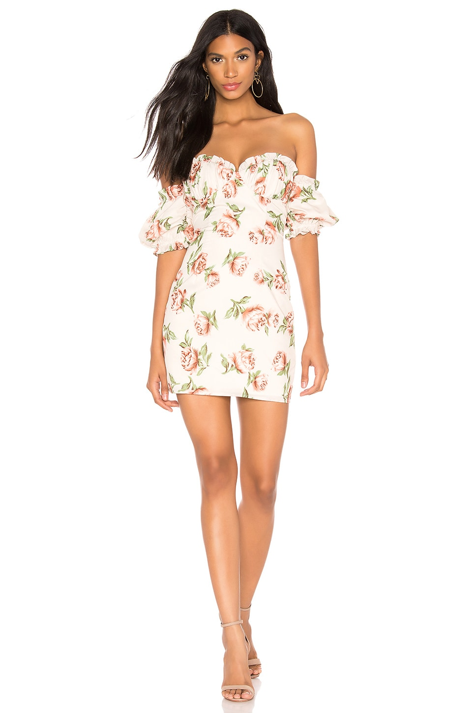 superdown Lou Bustier Frill Dress in Nude Floral