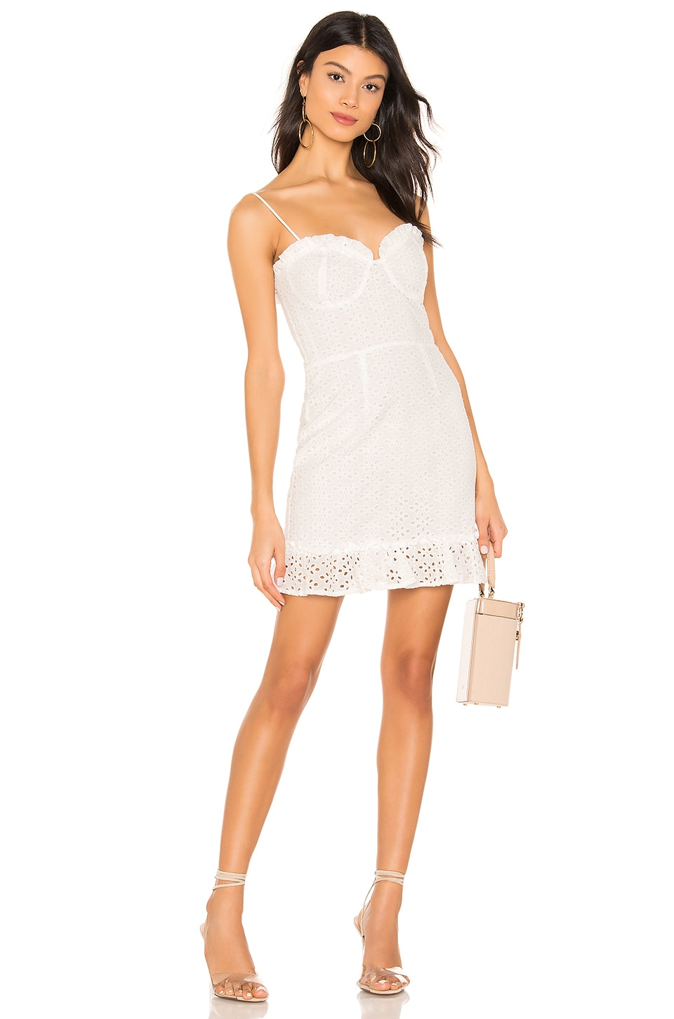 superdown Camilla Eyelet Frill Dress in White