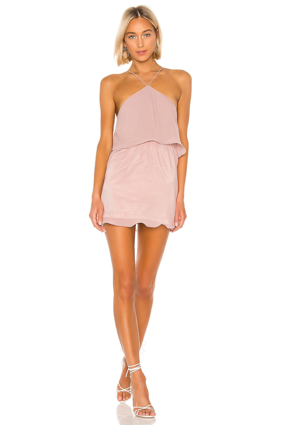superdown Caty Tiered Mini Dress in Blush