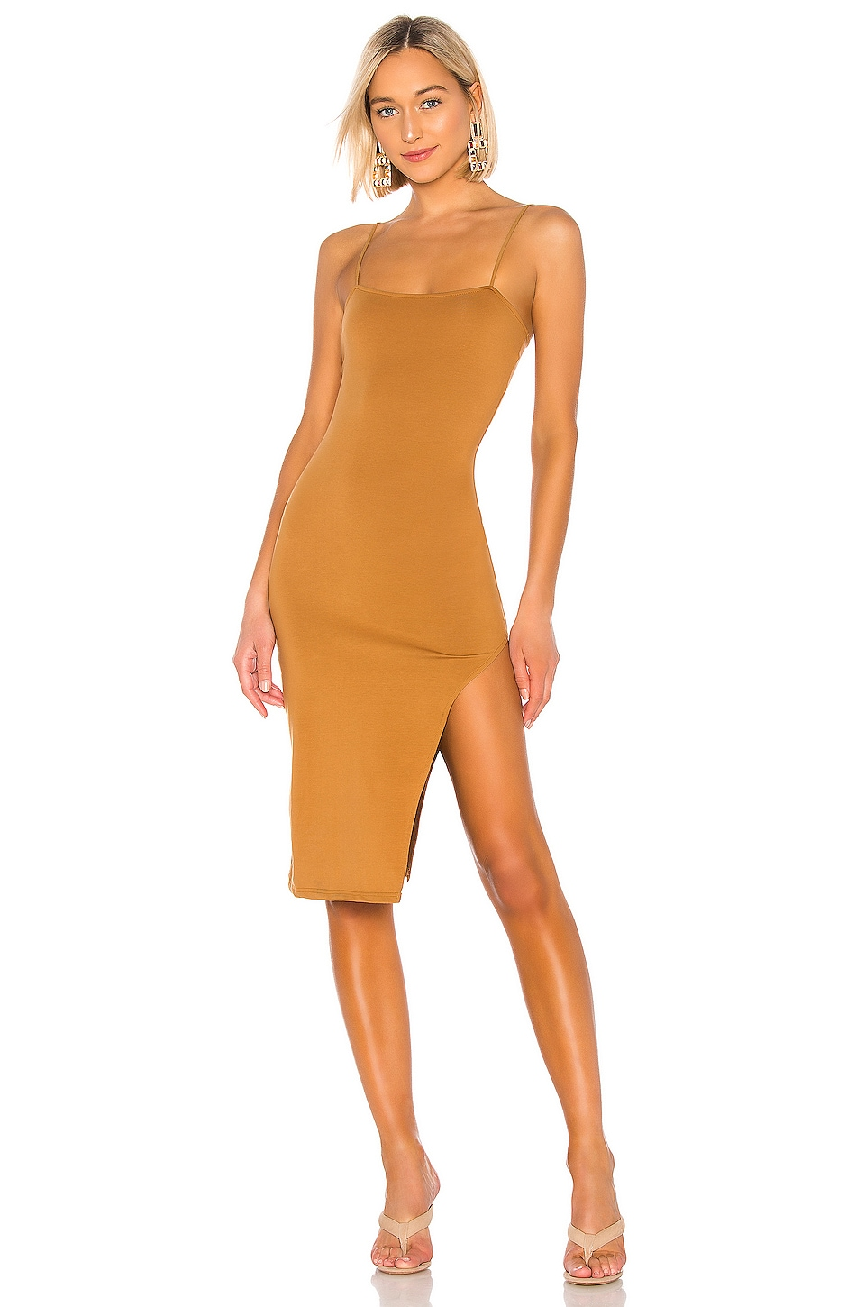 superdown Sandra Slit Midi Dress in Coffee