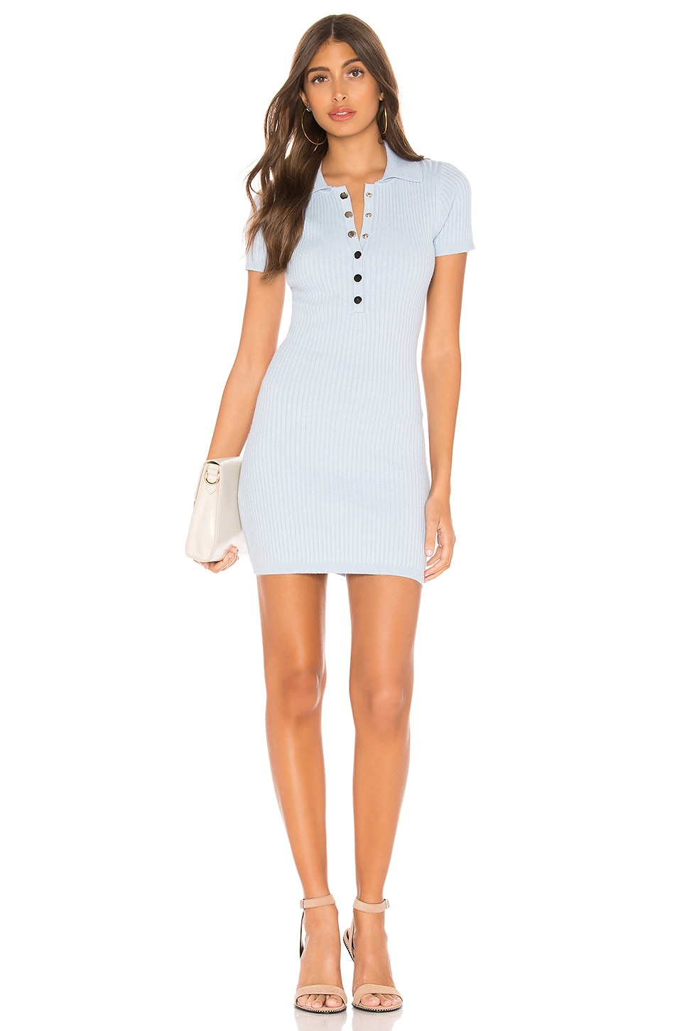 superdown Leyla Ribbed Polo Dress in Light Blue