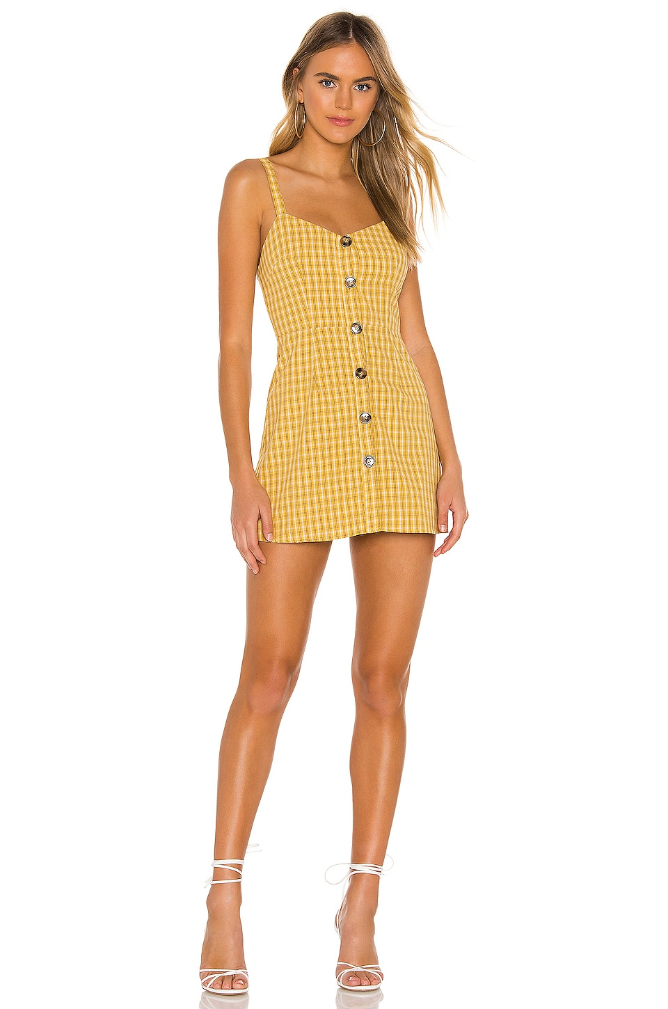 superdown Millie Button Up Dress in Yellow Plaid