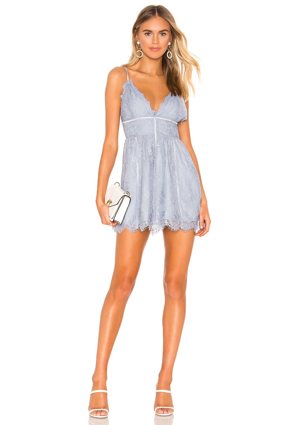 superdown Mandy Lace Flare Dress in Dusty Blue
