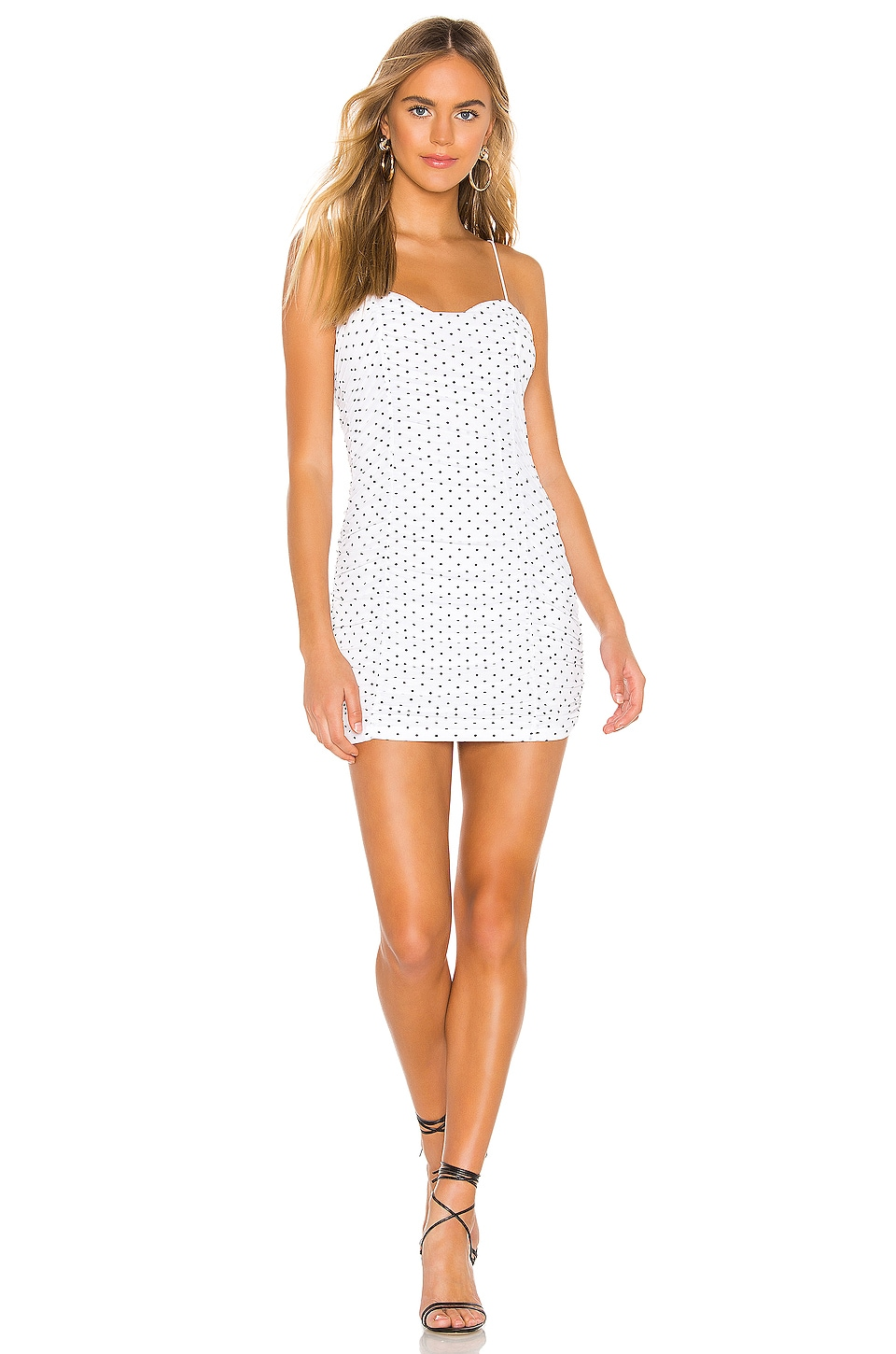 superdown Araya Ruched Cami Dress in White Polka Dot
