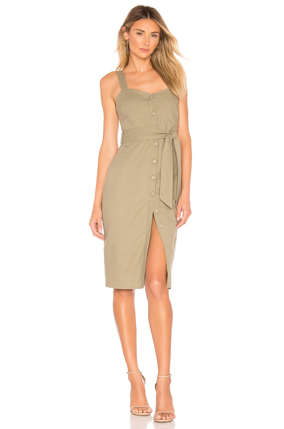 superdown Hailey Button Front Dress in Olive