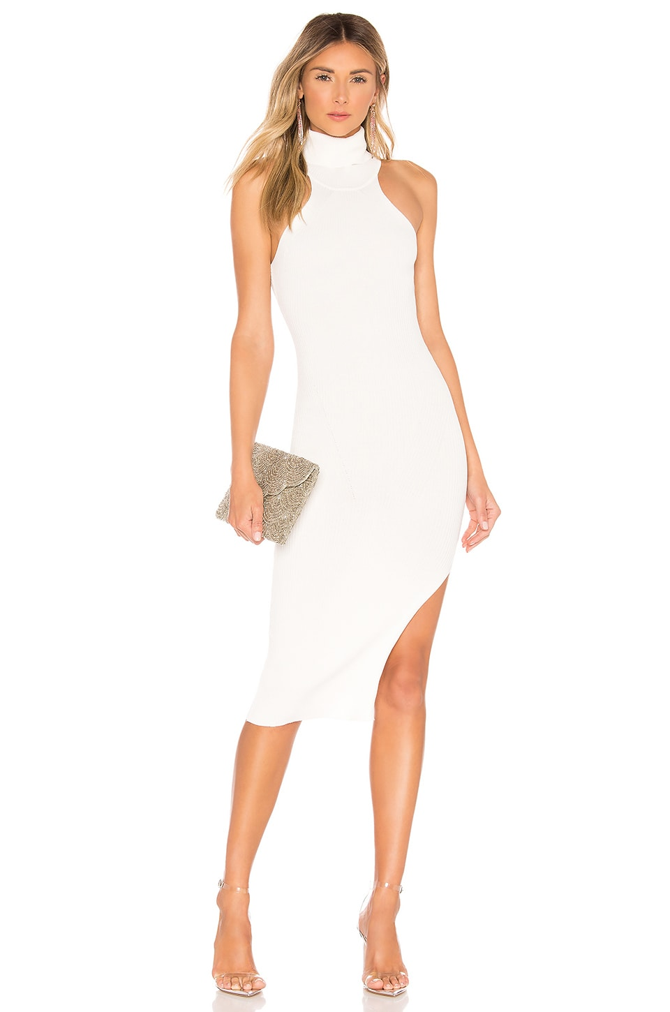 superdown Noura Knit Midi Dress in White