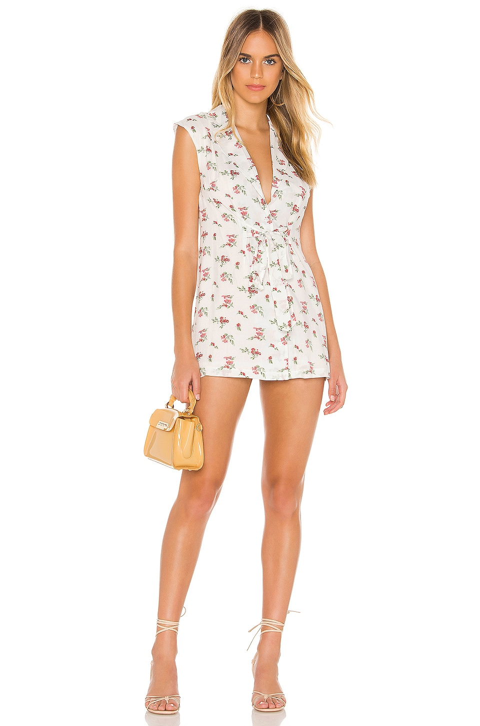 superdown Romina Button Front Dress in White Floral