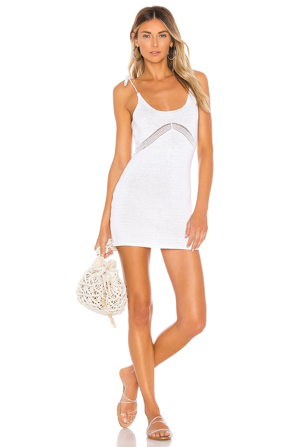 superdown Lana Crochet Mini Dress in Ivory