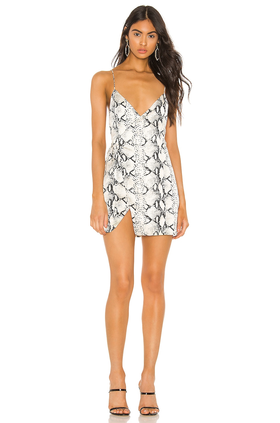 superdown Luca Wrap Front Dress in Cream Snake