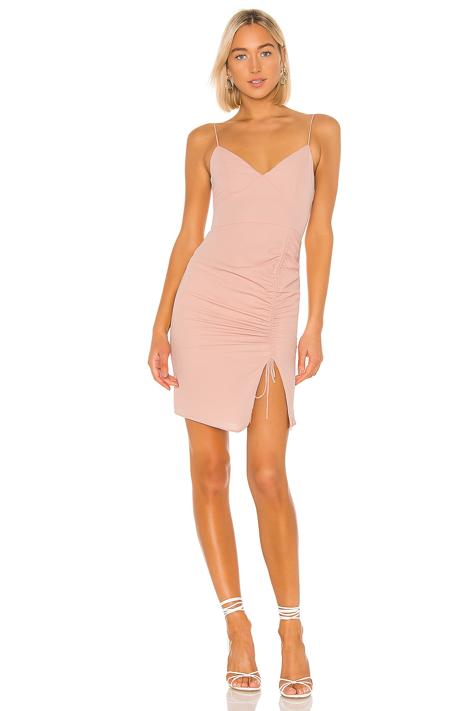 superdown Zena Ruched Side Dress in Nude