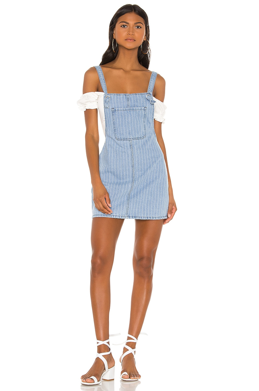 superdown Ida Overall Denim Dress in Medium Blue Wash