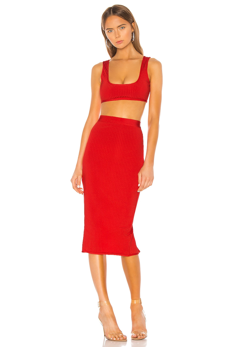 superdown Akeela Midi Skirt Set in Red
