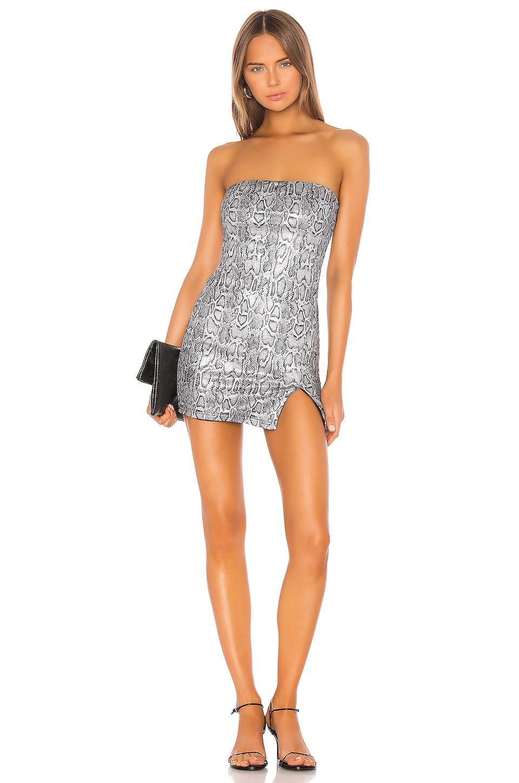 superdown Naomi Mini Dress in Silver Snake
