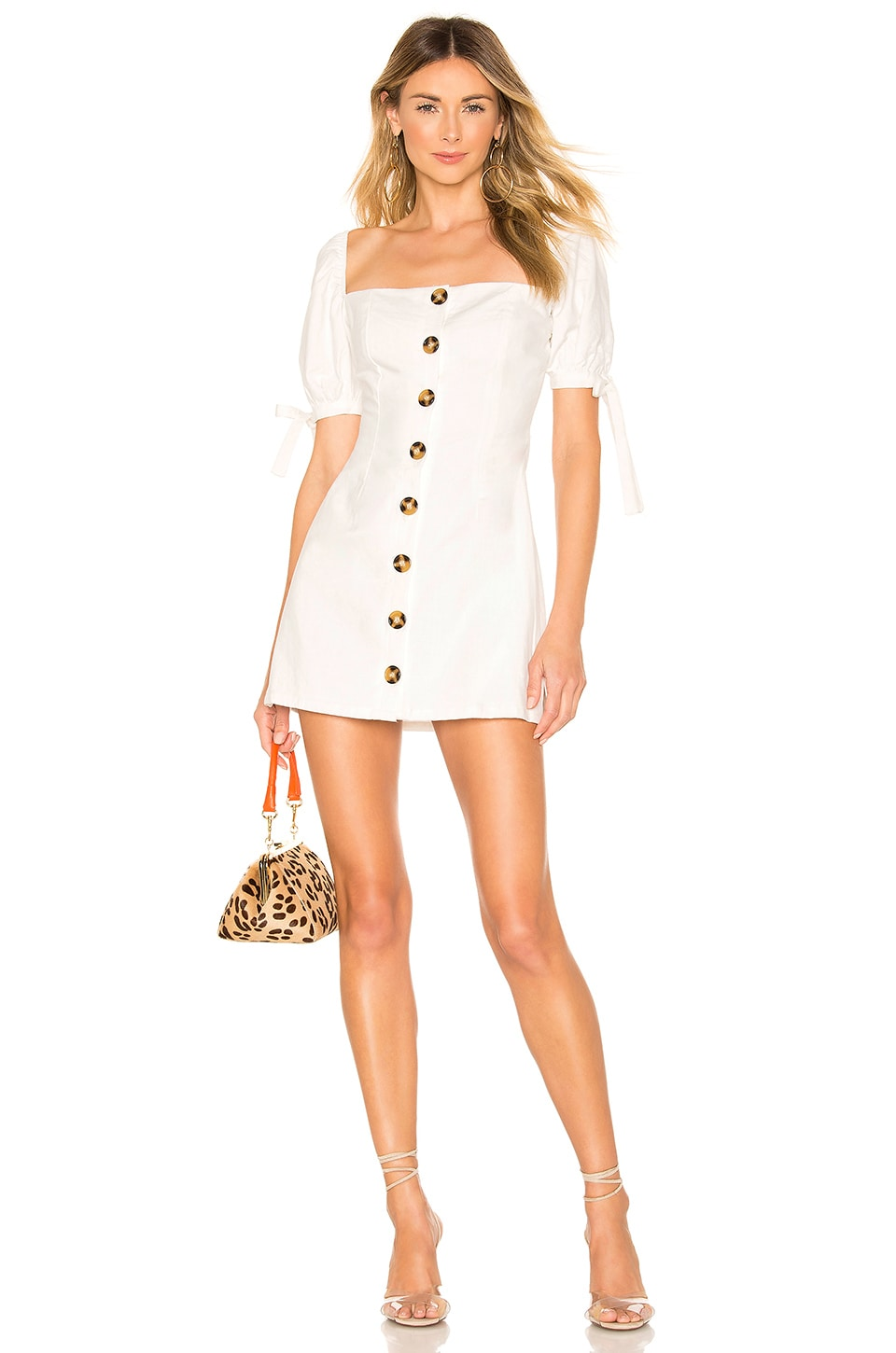 superdown Petra Button Front Dress in White