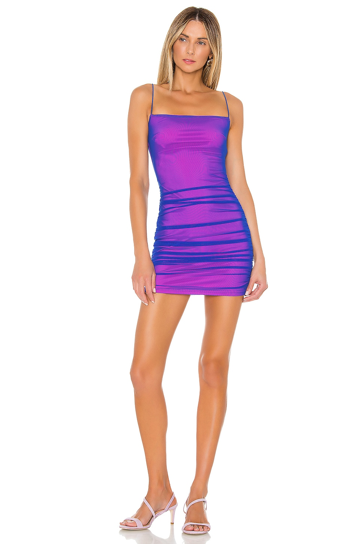 superdown Issa Mesh Mini Dress in Blue & Pink
