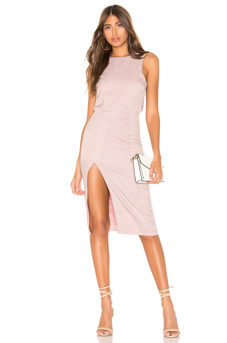 superdown Ally Midi Dress in Pink Gingham