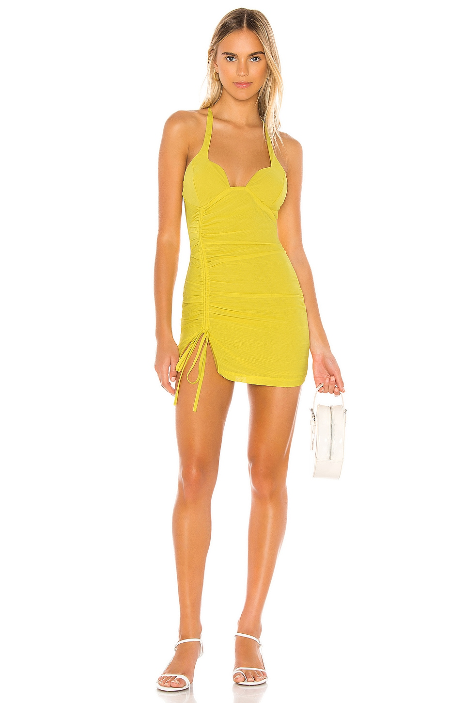 superdown Irina Ruched Mini Dress in Yellow