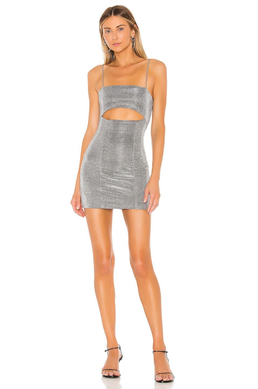 superdown Yuna Cut Out Dress in Silver Metallic