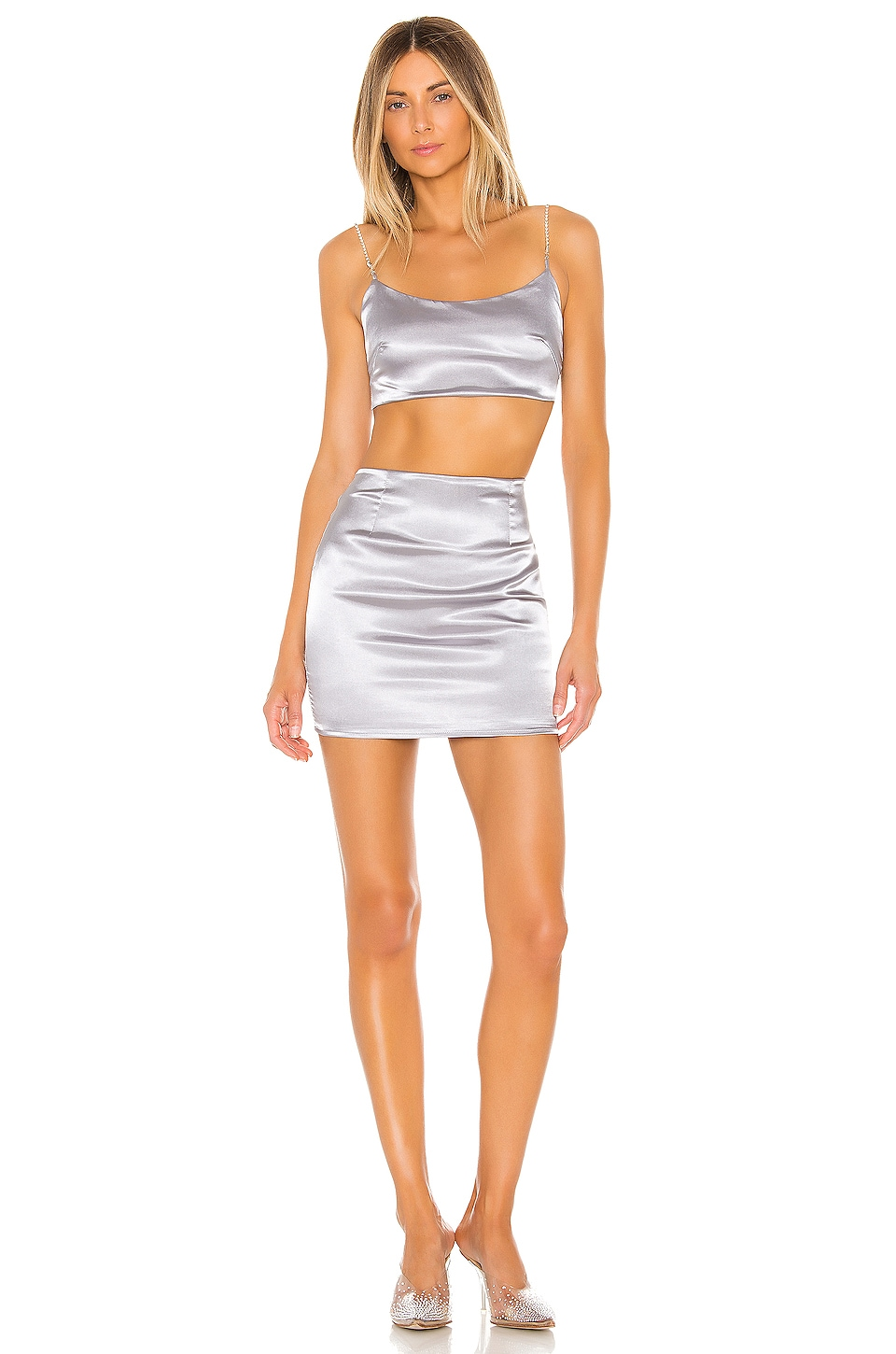 superdown Tijana Rhinestone Skirt Set in Silver