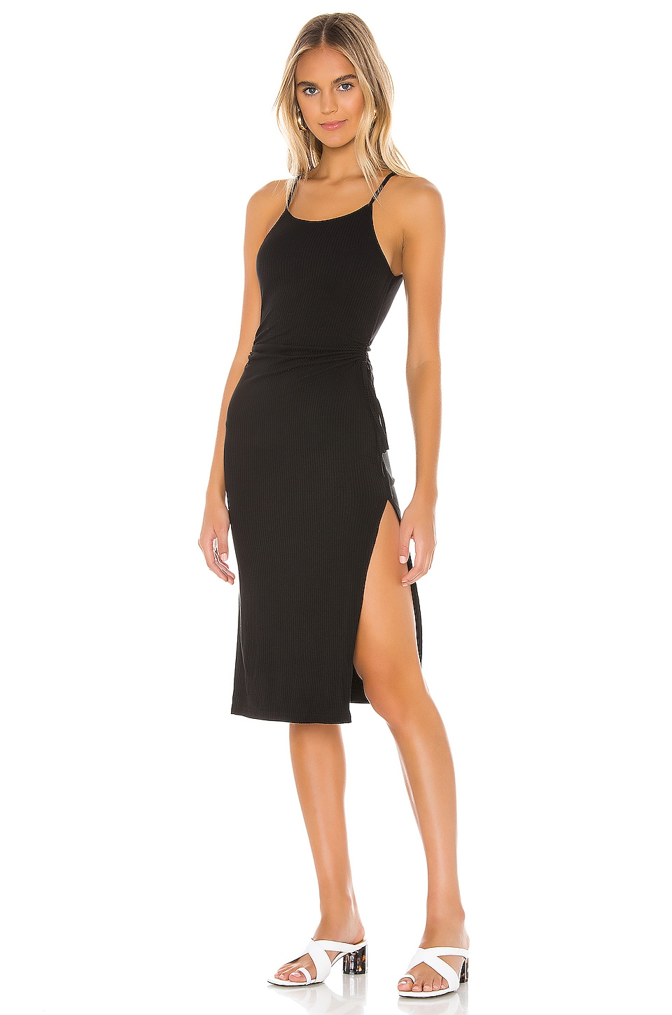 superdown Kourt Ribbed Dress in Black
