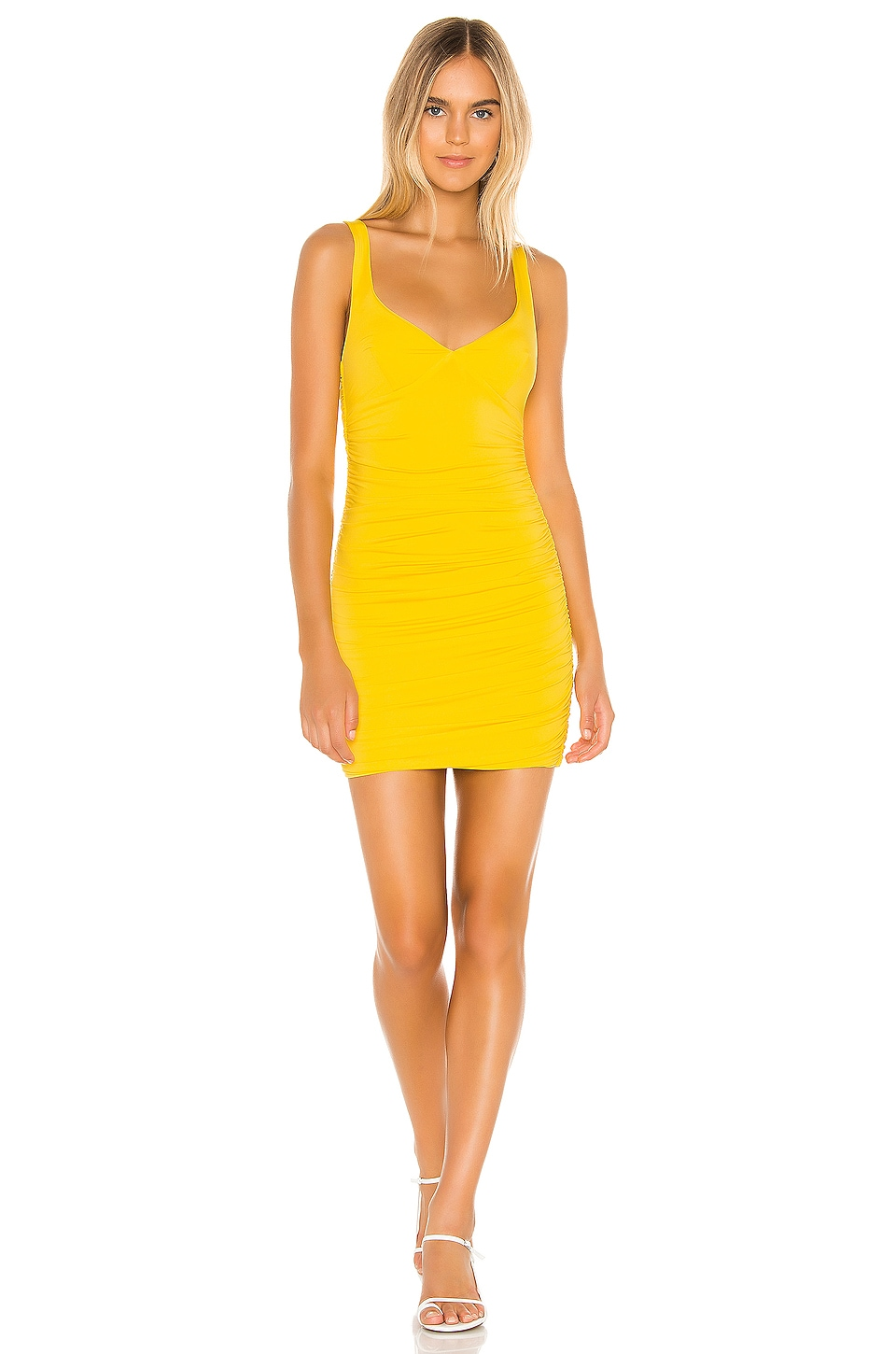 superdown Justine Ruched Mini Dress in Yellow