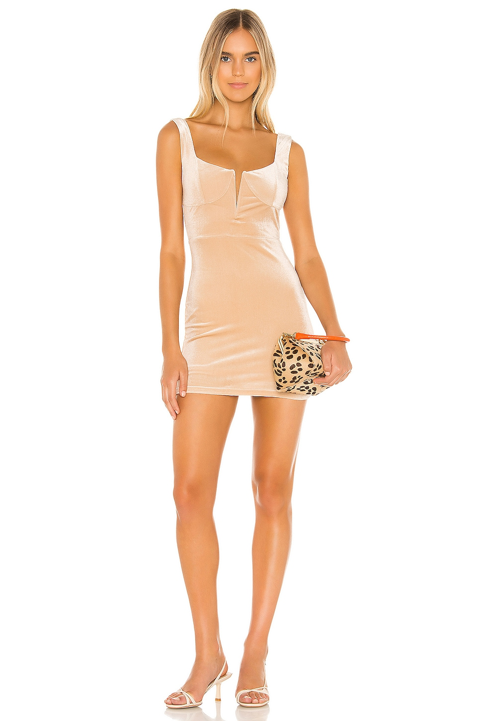 superdown Chiara Plunging Mini Dress in Champagne