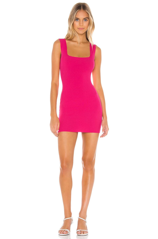superdown Merna Square Neck Dress in Hot Pink