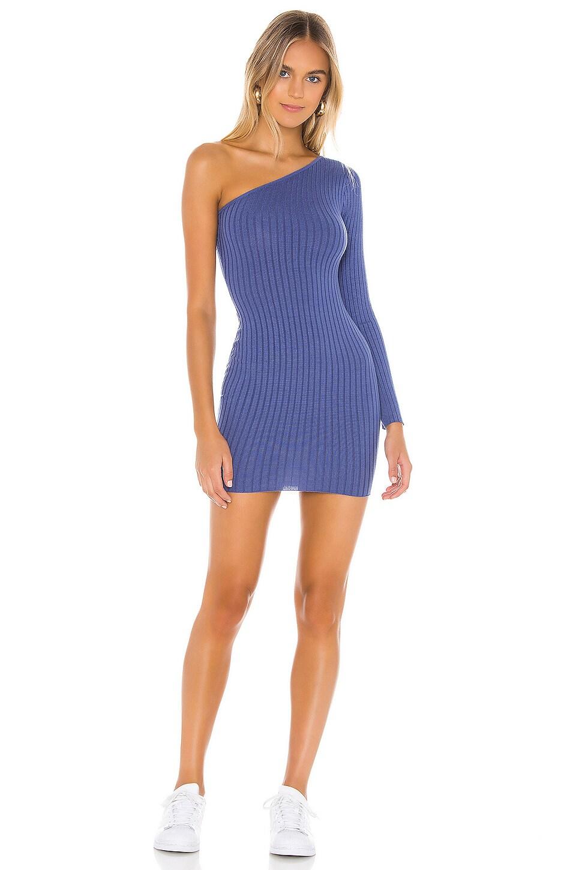 superdown Ana One Shoulder Dress in Blue