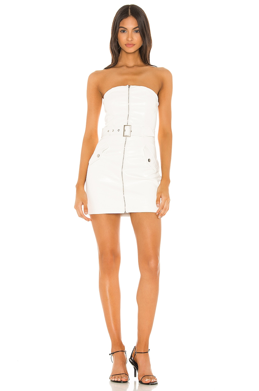 superdown Pamela Moto Mini Dress in White