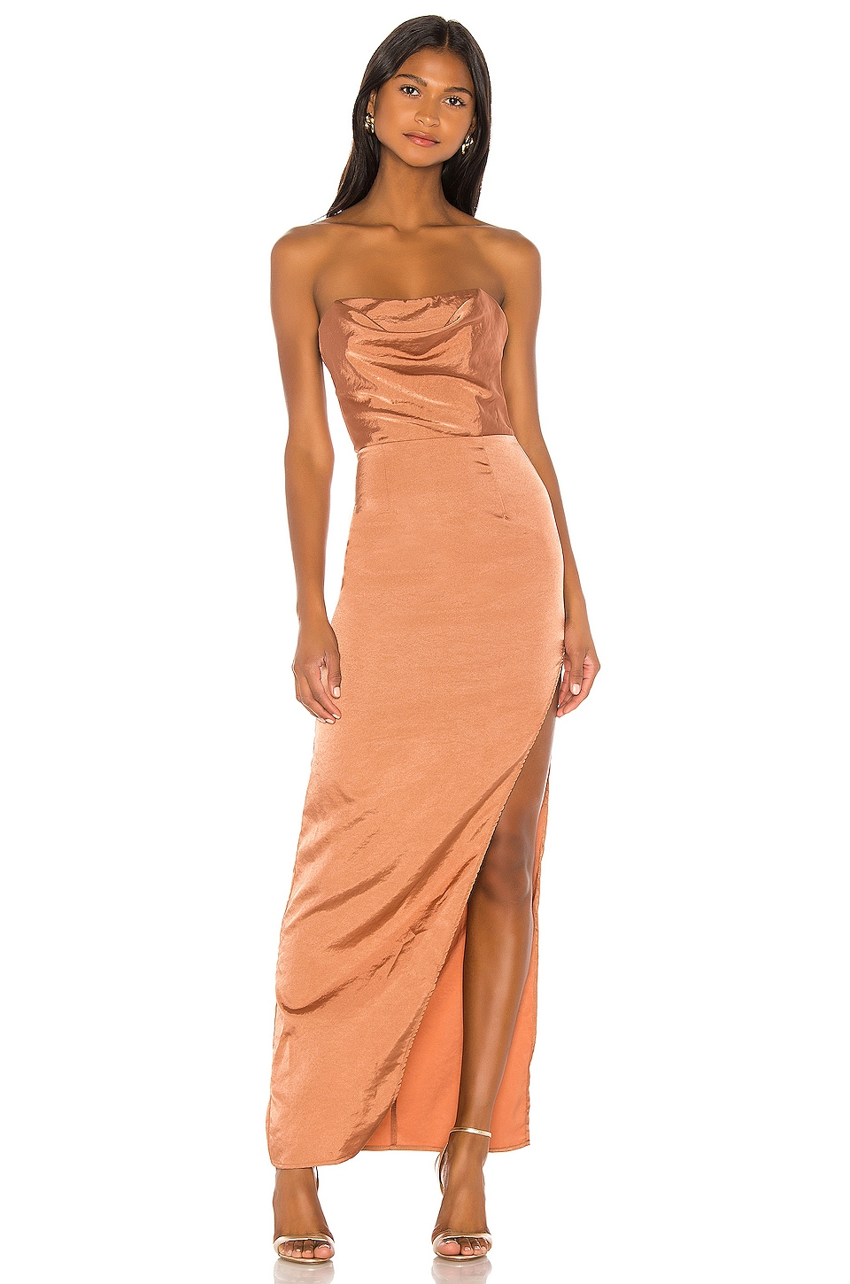 superdown Farah Satin Maxi Dress in Copper