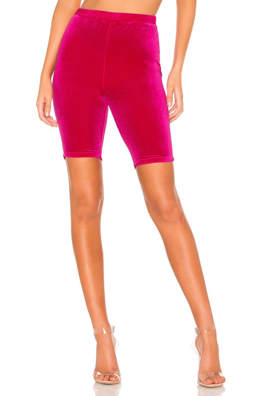 superdown Alamae Velour Shorts in Hot Pink